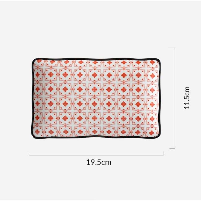 Table Matters Crisscross Red Rectangular Ripple Plate - 2