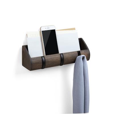 Cubby Mini Key Hook & Organiser - Black, Walnut - Image 1