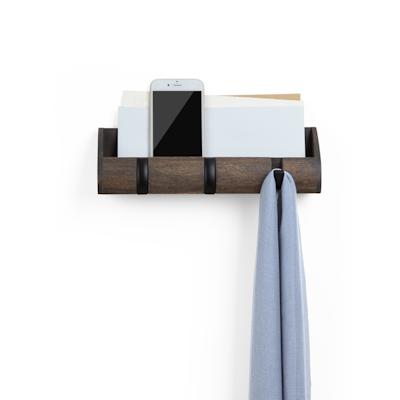 Cubby Mini Key Hook & Organiser - Black, Walnut - Image 2