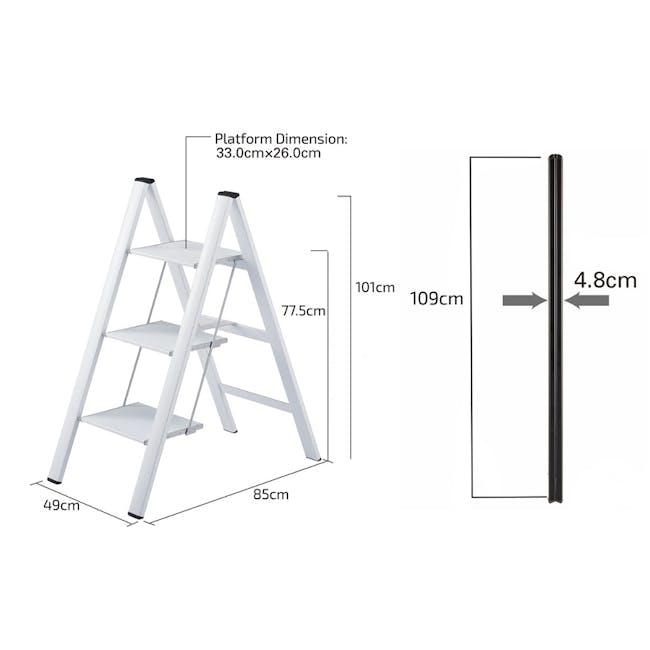 Hasegawa Lucano Slim Aluminium 3 Step Stool - White - 4