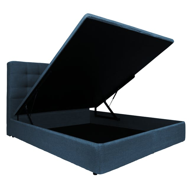 ESSENTIALS Super Single Headboard Storage Bed - Denim (Fabric) - 3
