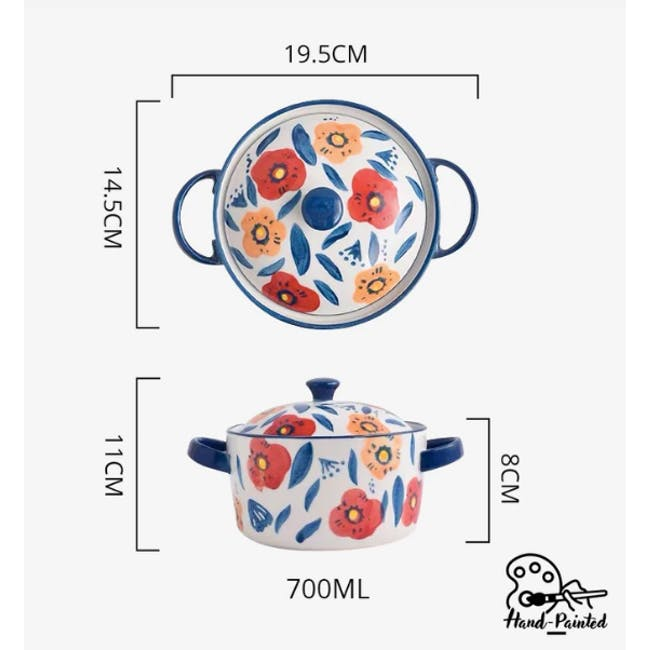 Table Matters Poppy Blossom Hand Painted Round Pot with Cover - 3
