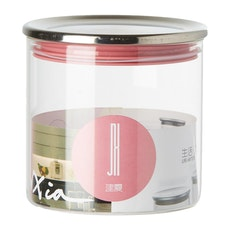 600ml Glass Jar With Stainless Steel Cover - Pink