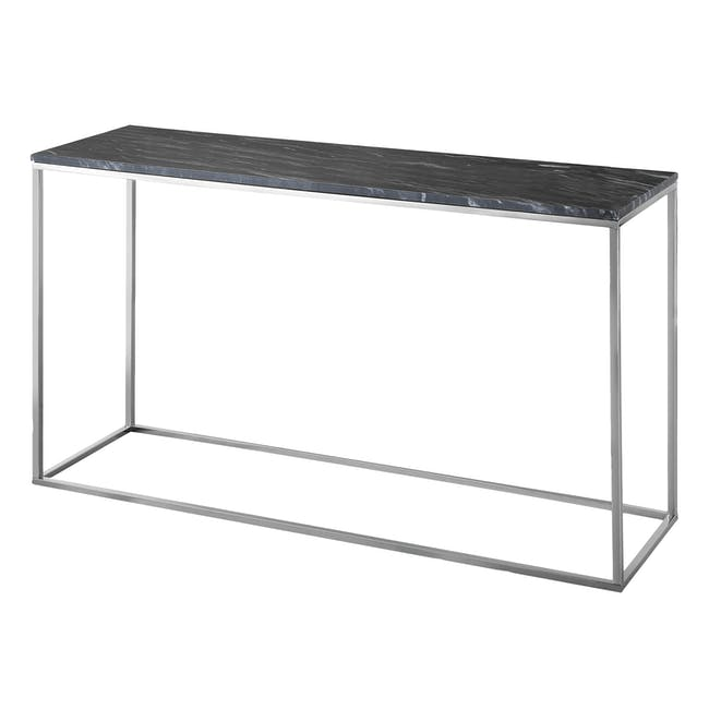 (As-is) Amelia Marble Console Table 1.2m - Grey, Chrome - 0
