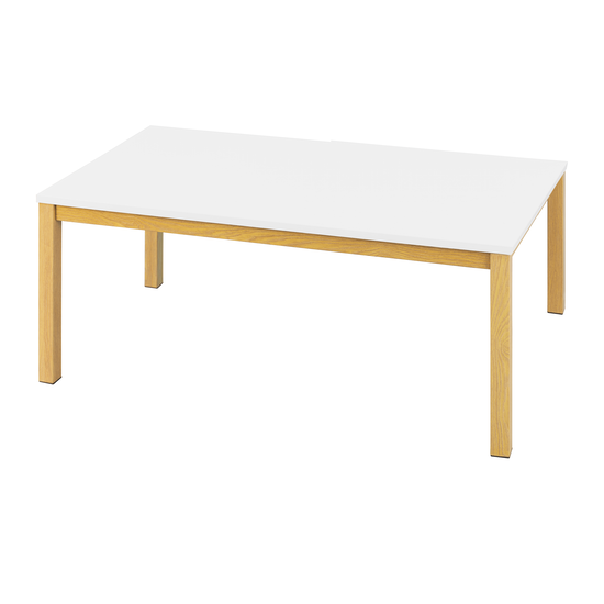 Glass and Metal - Paco Coffee Table 1.1m - White