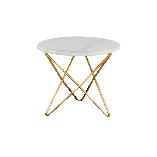 Lencia Marble Side Table - White, Gold - 1