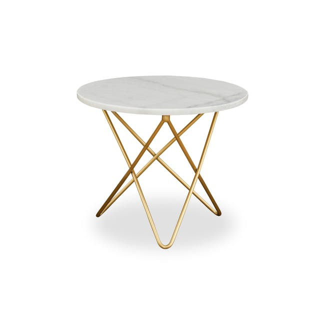 Lencia Marble Side Table - White, Gold - 0