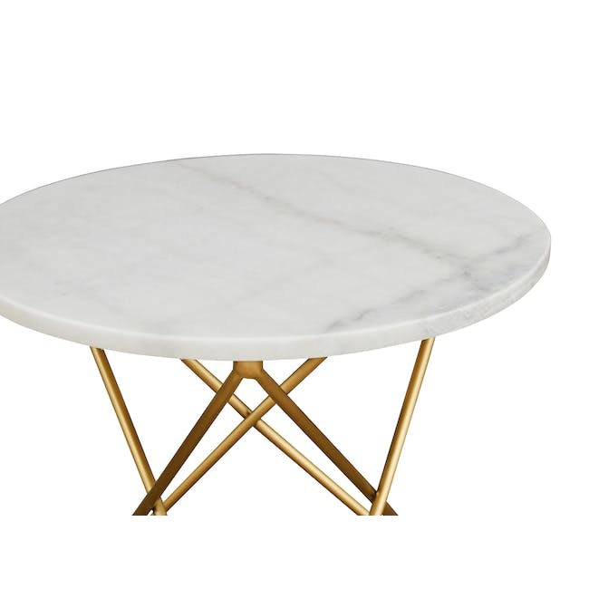 Lencia Marble Side Table - White, Gold - 2