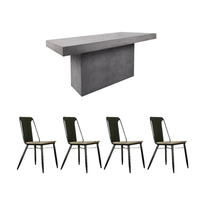 Ryland Concrete Dining Table 1.6m and 4 Starck Dining Chairs - 0