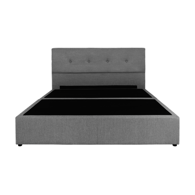 (As-is) ESSENTIALS Tufted Headboard Box Bed - Grey (Fabric) - Queen - 2 - Image 1