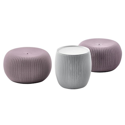 Cozy Urban Knit Poufs & Table Set - Violet Poufs + Grey Table - Image 1