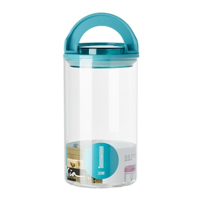 1.2L Glass Jar With Handle Lock Cover - Blue