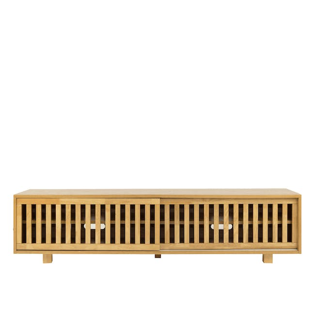 Keita TV Console 1.8m in Oak with Carsyn Oval Coffee Table in Taupe Grey - 2