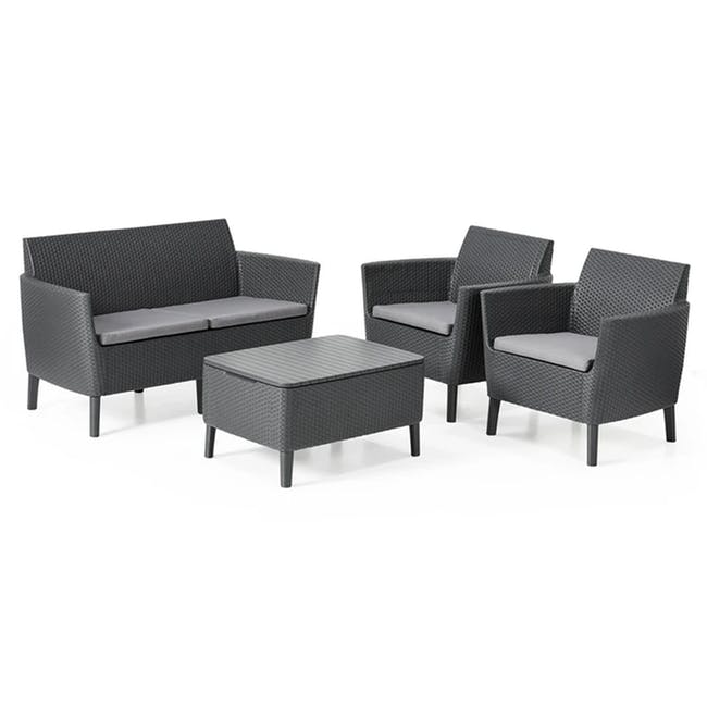 Salemo 2-Seater Lounge Sofa Set - Graphite - 0