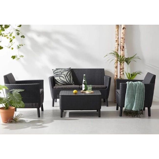 Salemo 2-Seater Lounge Sofa Set - Graphite - 1
