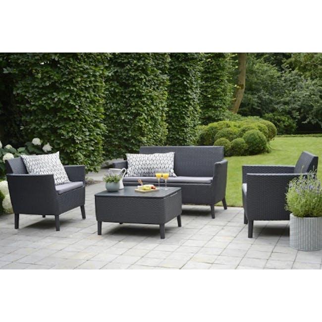 Salemo 2-Seater Lounge Sofa Set - Graphite - 2