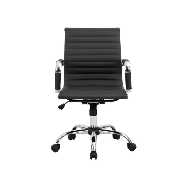 (As-is) Eames Mid Back Office Chair - Black (PU) - 12 - 0