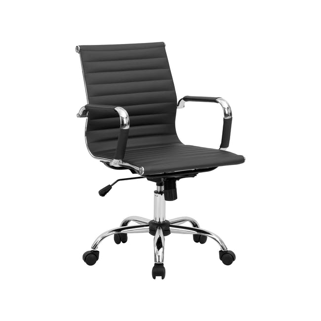 (As-is) Eames Mid Back Office Chair - Black (PU) - 12 - 25