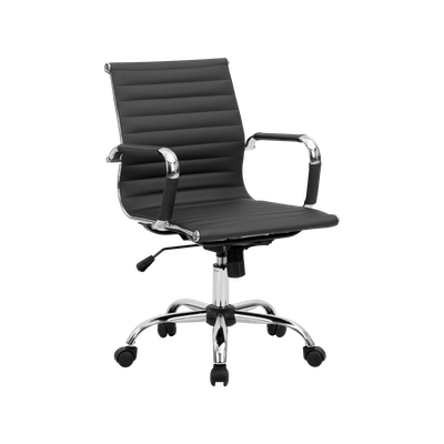 Eames Mid Back Office Chair - Black (PU) - Image 2