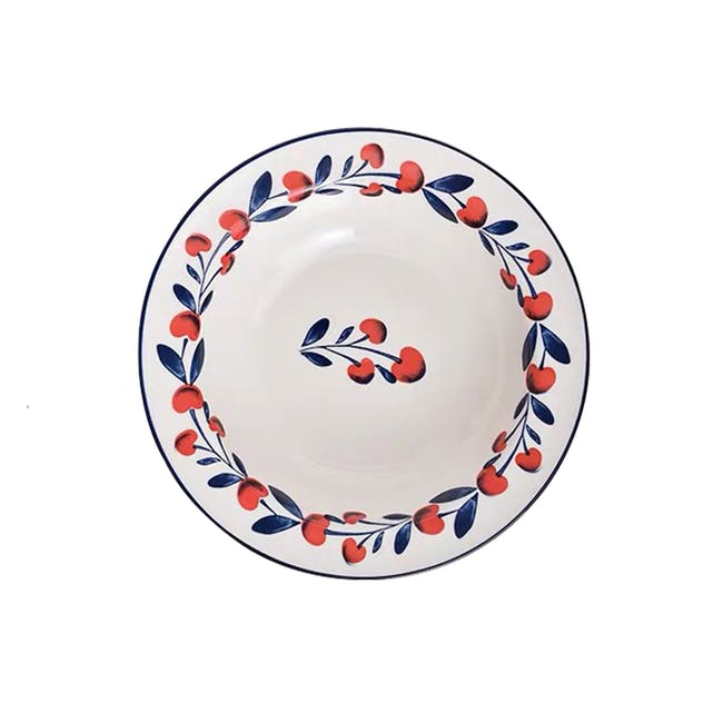 Table Matters Holiday Berry Hand Painted Pasta Plate - 0