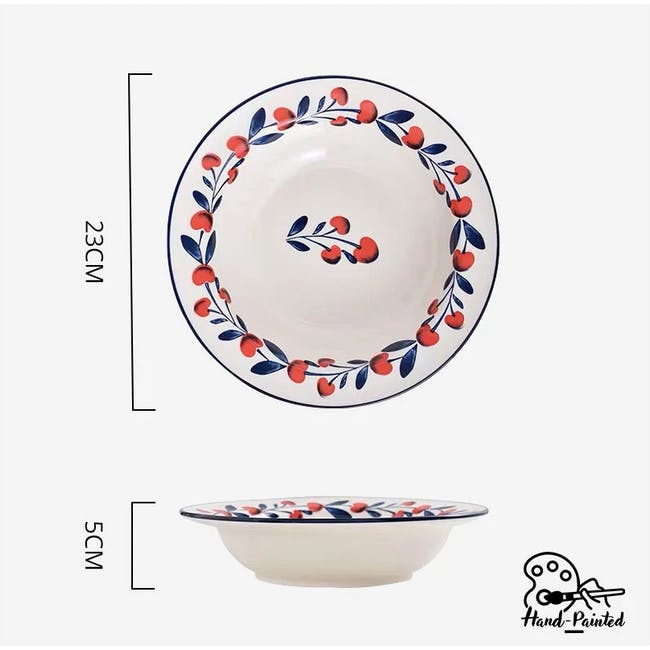 Table Matters Holiday Berry Hand Painted Pasta Plate - 2