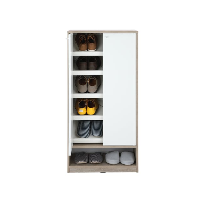 Penny Shoe Cabinet - Natural, White - 3