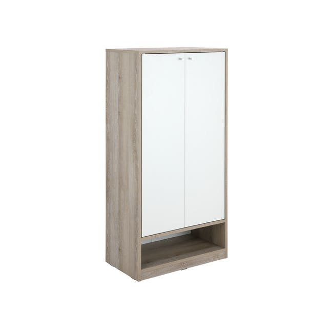 Penny Shoe Cabinet - Natural, White - 5