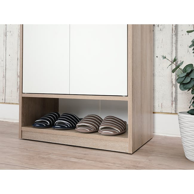 Penny Shoe Cabinet - Natural, White - 6