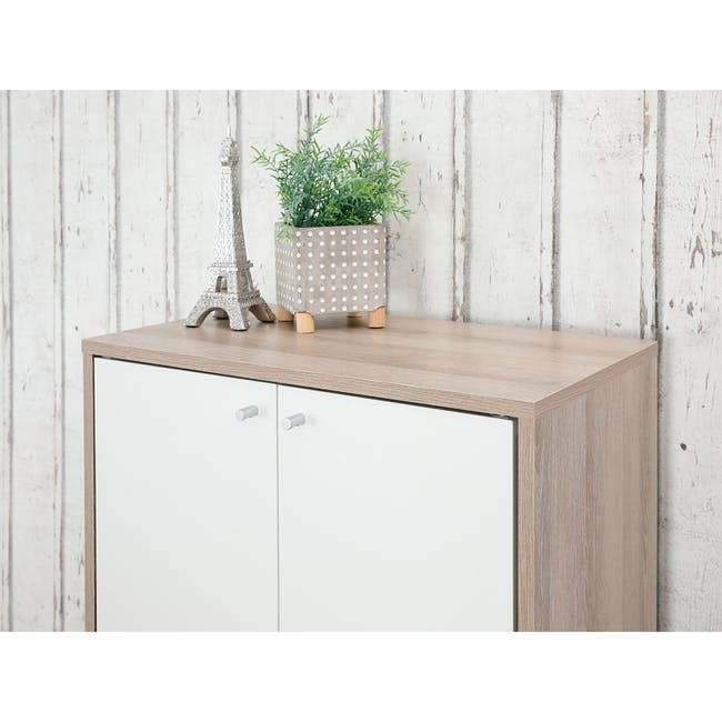 Penny Shoe Cabinet - Natural, White - 18