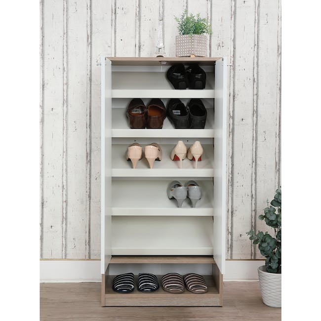 Penny Shoe Cabinet - Natural, White - 1