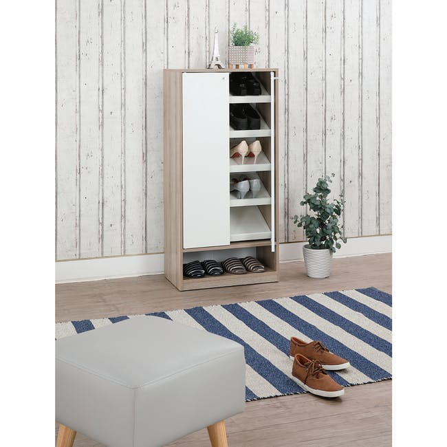 Penny Shoe Cabinet - Natural, White - 17