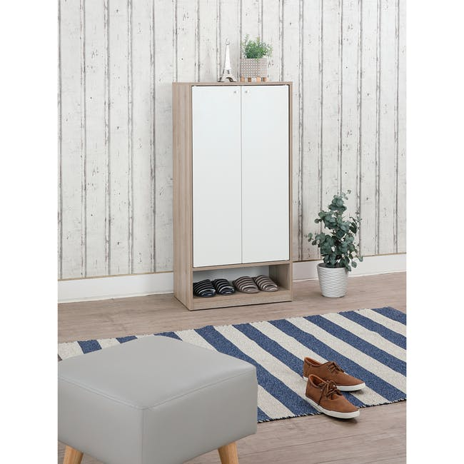 Penny Shoe Cabinet - Natural, White - 19