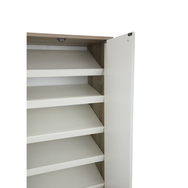 Penny Shoe Cabinet - Natural, White - 12