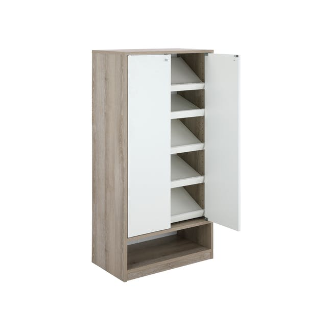Penny Shoe Cabinet - Natural, White - 10