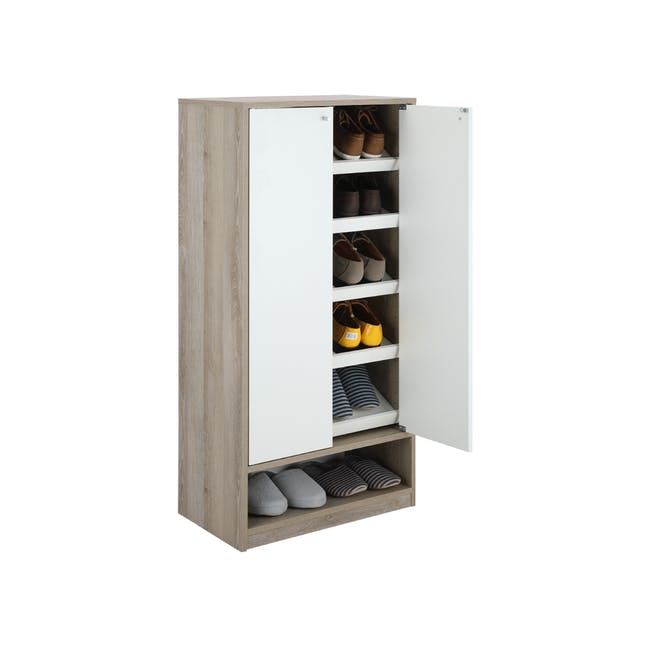 Penny Shoe Cabinet - Natural, White - 14