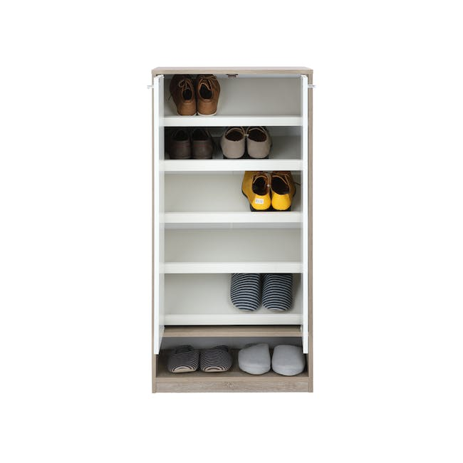 Penny Shoe Cabinet - Natural, White - 16
