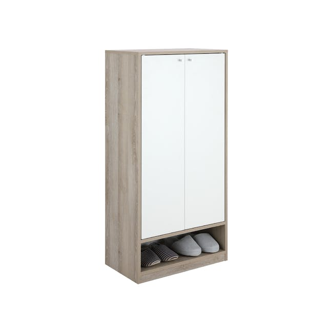 Penny Shoe Cabinet - Natural, White - 8