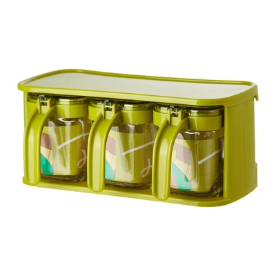 Glass Condiment 3-Piece Pot Set  - Green