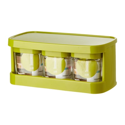 Glass Condiment 3-Piece Pot Set - Green - Image 2