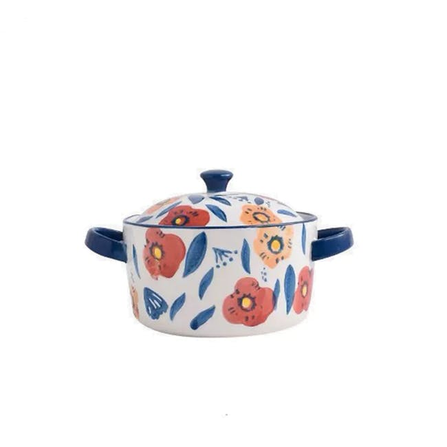 Table Matters Poppy Blossom Hand Painted Round Pot with Cover - 0