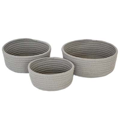 Celine Cotton Rope Storage - Grey (Set of 3) - Image 1
