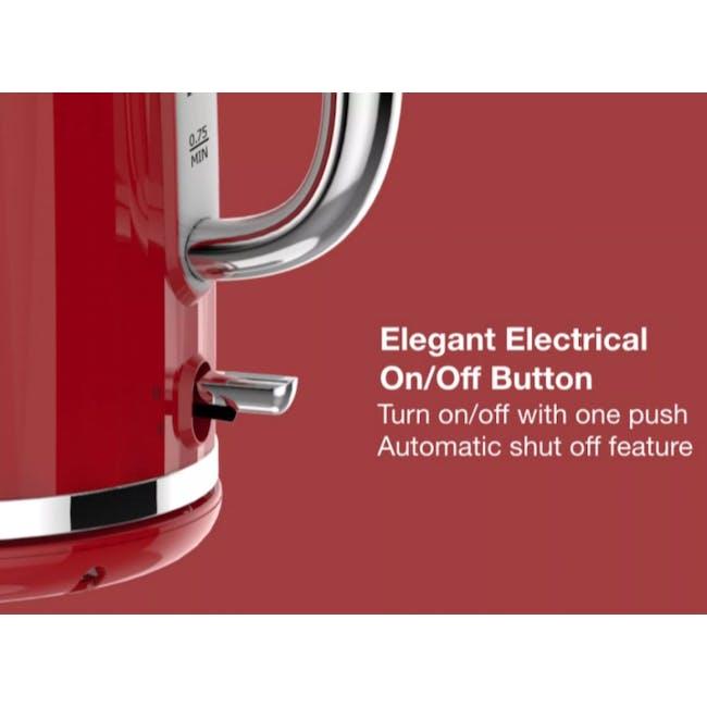 Odette Jukebox 1.7L Retro Electric Kettle - Red - 5