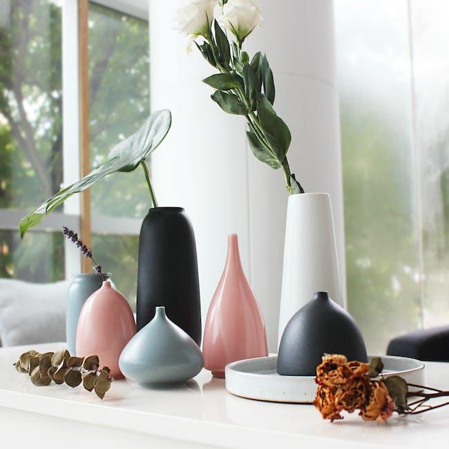 Nordic Matte Vase Half Cylinder - Matte Black - 2