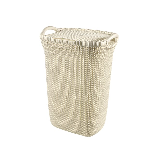 Knit Laundry Hamper with Lid 57L - Oasis White - 0