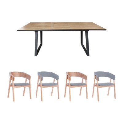 Orlando Extendable Dining Table 1.6m with 4 Venice Dining Chairs - Oak - Image 1