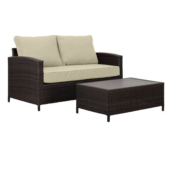 MLM Outdoor - Arlana Loveseat with Coffee Table Outdoor Set - Sand