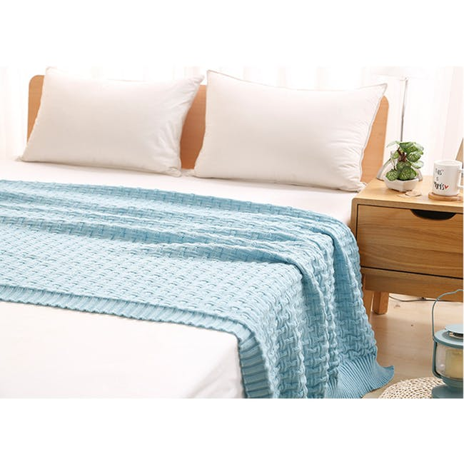 Camille Knitted Throw Blanket 110 x 175 cm - Sky Blue - 1