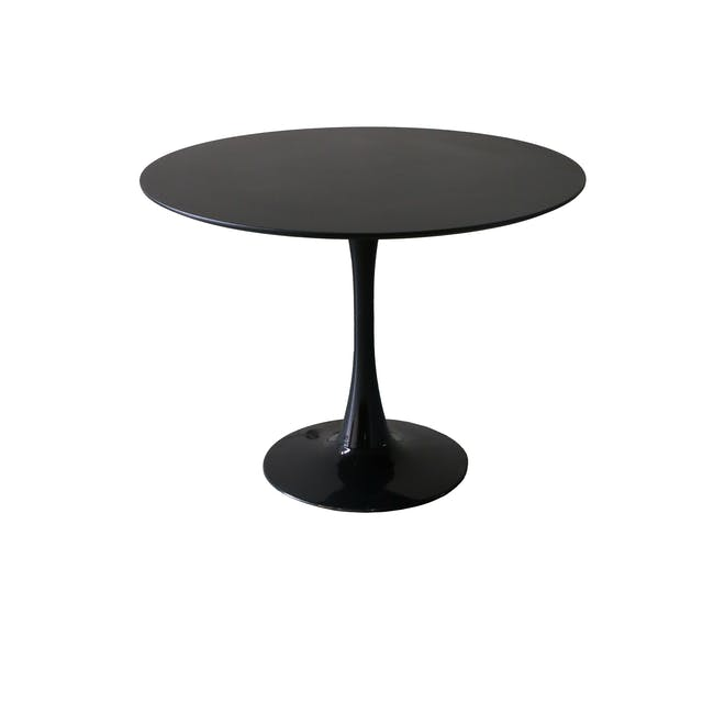 Carmen Round Dining Table 1m in Black with 4 DAW Chair Replica in Natural, Black - 2