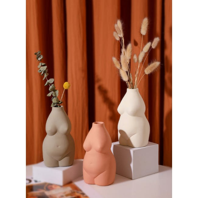 Female Sculpture Body Art  Ceramic Vase - Light Terracotta - 4
