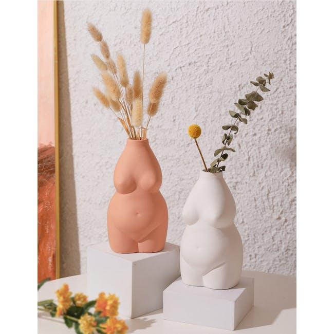 Female Sculpture Body Art  Ceramic Vase - Light Terracotta - 3